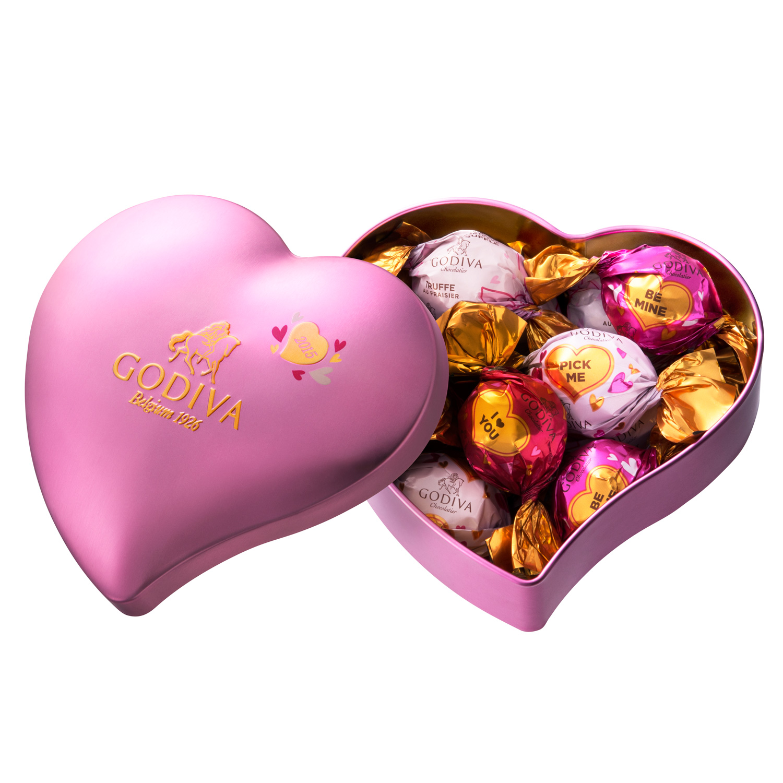 ラッピングチョコレート ハート缶 10個入