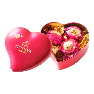 ラッピングチョコレート ミニ ハート缶 5粒入