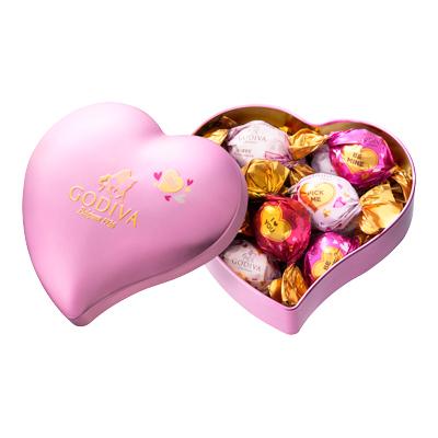 ラッピングチョコレート ハート缶 10粒入