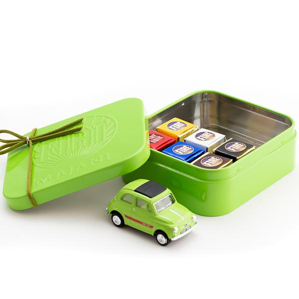 FIATチョコレート・ミニカーセットグリーン缶