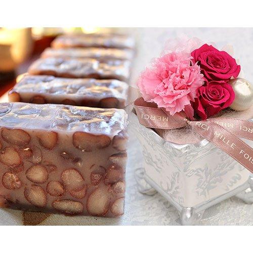 プリザーブドフラワー 皇室献上菓匠羊羹 ようかん 紫珠 和菓子・花セット