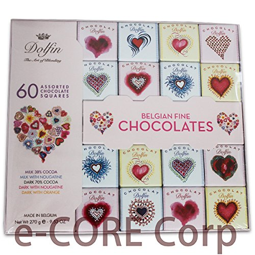 Dolfin ドルフィン ベルギーハートチョコレート 5種の板チョコ詰め合わせギフト 60粒入